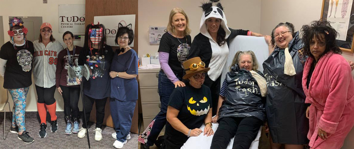 TuDor staff dressed up for Halloween