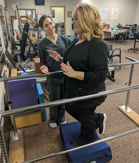 Physical Therapist Patricia Godsen monitors balance, gait and strength.